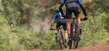 Mountain Bikers Riding On Bike Singletrack Trail, Mountain Bike Race