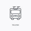 Trolleybus outline icon. Simple linear element illustration. Isolated line Trolleybus icon on white background. Thin stroke sign can be used for web, mobile and UI.