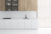 White Kitchen Interior With Wooden Cupboards