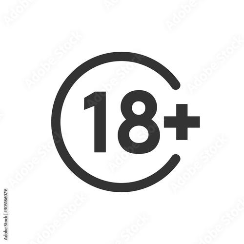 Valokuvatapetti Eighteen plus icon in flat style