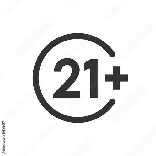 Valokuva  Twenty one plus icon in flat style