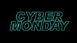 Cyber Monday sale.blue outline glowing over dark 80s style animation