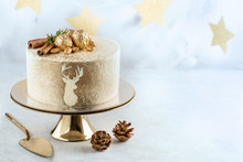 Christmas Cake On Golden Cake Stand. Copy Space.