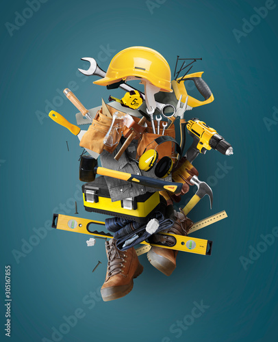 Papel de parede Construction tools and instruments, a concept on the theme of tools