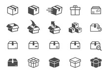 Box Vector Icons Isolated On W...