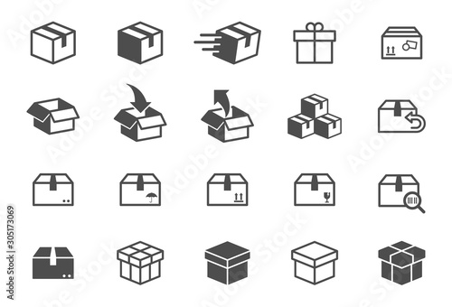 Fotografija box vector icons isolated on white background