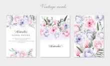 Set Of Greeting Cards With Flo...