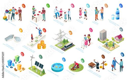 Fototapeta Sustainable development, economy and society sustainability, social responsibility, vector isometric icons. CSR initiatives, life level improvement, community protection and environment conservation obraz
