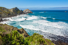The Pacific Coast And Ocean At Big Sur Region. California Landscape, United States
