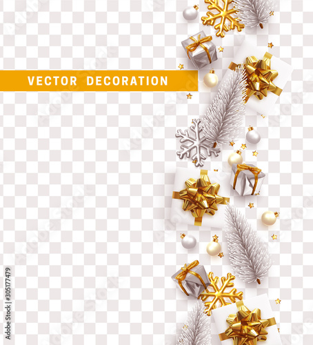 Merry Christmas and Happy New Year. Decorative Christmas Ornaments, realistic gift boxes, 3d snowflake, Xmas ball, lush pine tree. Silver and white color Holiday decoration. Decor Border from objects