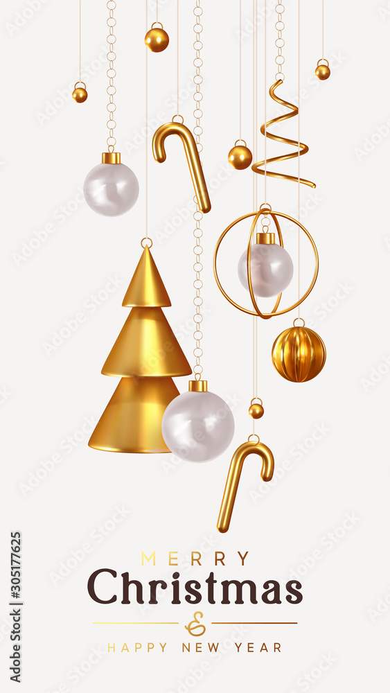Christmas and New Year background. Conical Abstract Gold Christmas Trees. Xmas Balls hanging on ribbon. Bright Winter holiday composition. Greeting card, banner, poster