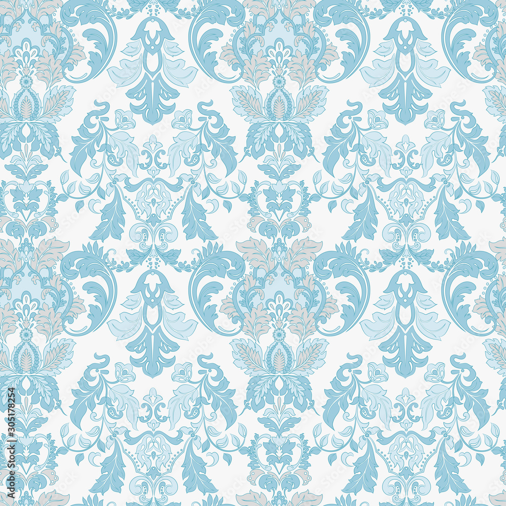 Vintage floral seamless patten. Classic Baroque wallpaper.