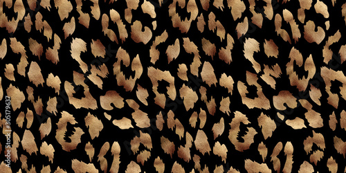 leopard print seamless patternon dark background. Golden texture Poster Mural XXL
