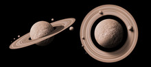 Set Saturn Planets In Deep Space With Rings  And Moons Surrounded. Isolated On Black