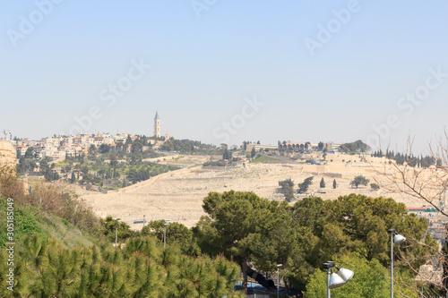 Cuadros en Lienzo Panorama of east Jerusalem with Mount of Olives, Israel