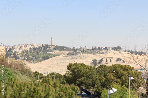 Fotografía Panorama of east Jerusalem with Mount of Olives, Israel