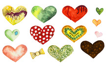 A Set Of Hearts For Design. A ...