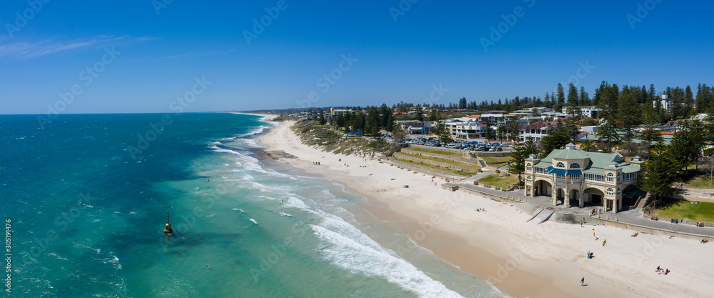 Fototapeta Aerial panoramic view of Cottesloe Beach in Perth, Western Australia