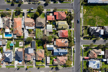 Aerial Top Down View Of Houses In The Melbourne Suburb Of Preston Victoria On A Summers Day