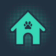 Green Dog House And Paw Print Pet Icon Isolated On Blue Background. Dog Kennel. Abstract Circle Random Dots. Vector Illustration