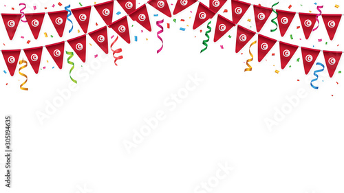 Fototapeta Tunisia flags garland white background with confetti, Hang bunting for Tunisian