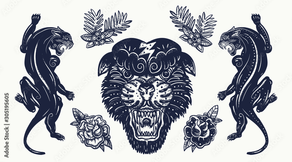 Fototapeta Black panthers. Aggressive wild cats. Old school tattoo set. Traditional tattooing style