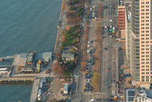 Aerial View Of Rush Hour And Bysu Traffic In West Side Highway, Manhattan, New York City.