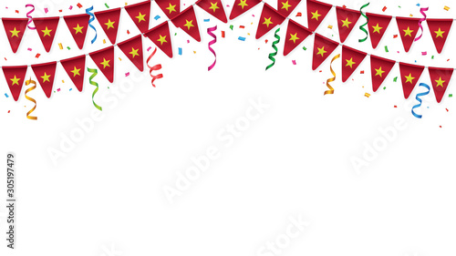 Papel de parede  Vietnam flags garland white background with confetti, Hang bunting for Vietnames