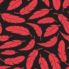 Modern Seamless Pattern With Red Feathers On Dark Background. Vector Illustration