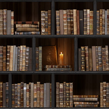 06 Of 30 Black Wood Bookshelf. Old Books Seamless Texture (vertically And Horizontally). Tiled Bookshelf Background. Also Tiled With Other Textures From Same Set In My Gallery. Pack2.