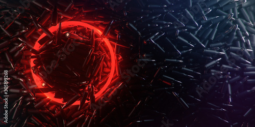 dark background made of bullets with glowing red circle of light for logo and dark copy space Canvas Print