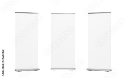 Fotomural  Roll up banner stand isolated on white background isolated with clipping path,empty white show display mock up for presentation or exhibition your product, board for trade advertising