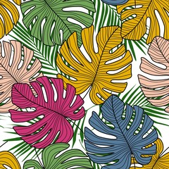FototapetaTropical seamless pattern with exotic monstera leaves on white background.