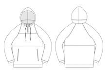 Technical Sketch Anorak. Unisex Underwear Hodie Design Template.