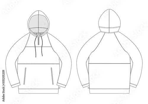 Technical sketch anorak. Unisex underwear hodie design template. Canvas Print