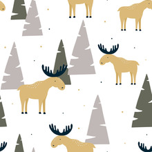 Hand Drawn Seamless Pattern With Funny Elk In A Wood. Vector Illustration. Design Can Be Used For Textiles, Wallpaper, Clothing, Wrapping Paper.