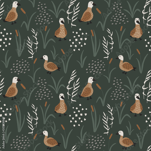 Fotografie, Obraz Hand drawn seamless pattern with cute Ducks in a reeds