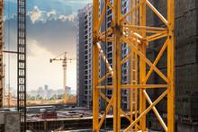 Lift Elevator Crane At Construction Site