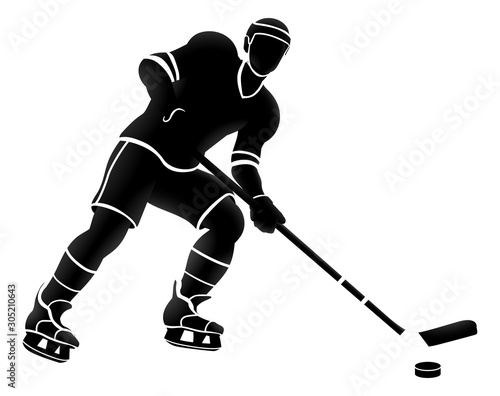 An ice hockey sports player silhouette illustration Wallpaper Mural