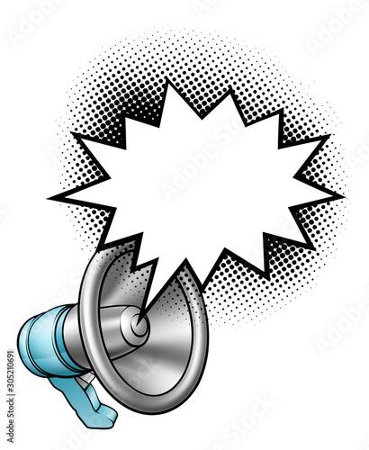 A megaphone or bullhorn comic speech bubble cartoon Wallpaper Mural