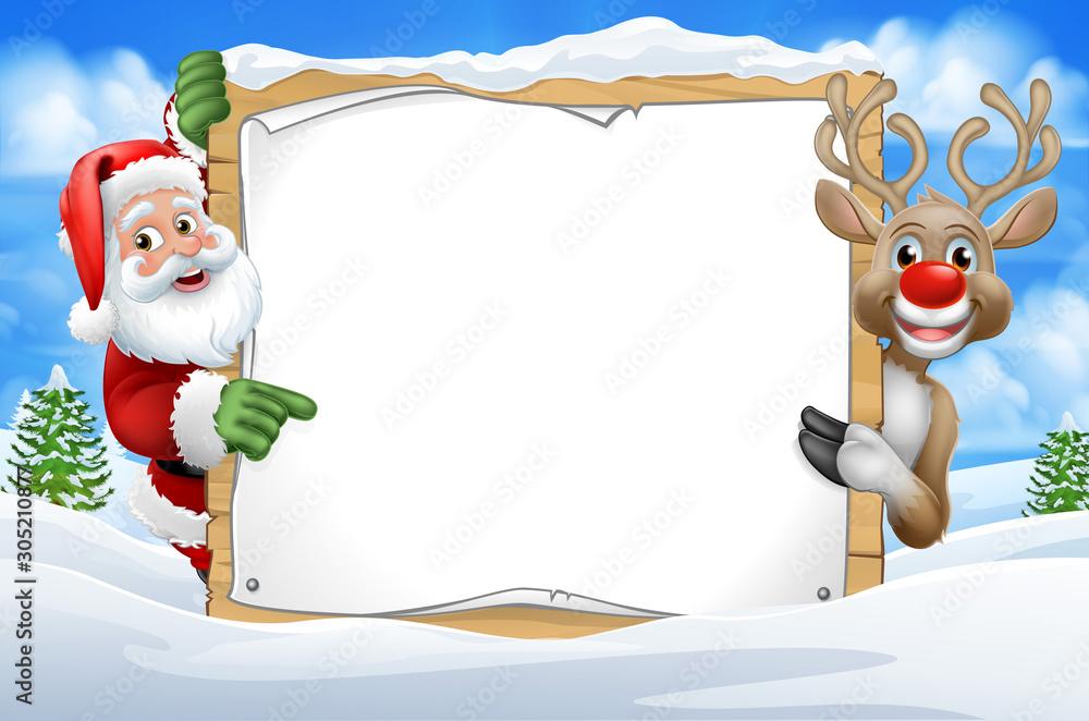Santa Claus and Christmas reindeer peeking around a sign in a snowy scene winter landscape cartoon