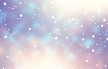 White snow fall on glare garland blurred texture. Lilac blue pink gradient blur. Magical bokeh and flares pattern. Winter background. New Year wonderful festive illustration. Christmas decor.