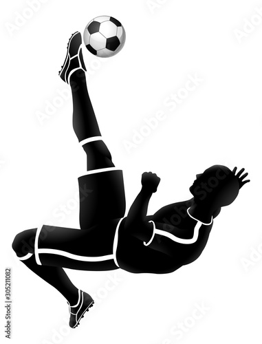 A soccer football player jump kicking a ball silhouette sports illustration Canvas Print
