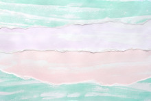 Pastel Watercolor Painting On White Paper Collage Background, Blank Colorful Watercolour Paper Torn Collage Art Abstract Design For Backdrop, Poster, Wallpaper