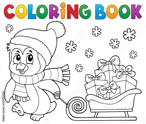 Spoed Fotobehang Voor kinderen Coloring book Christmas penguin topic 9