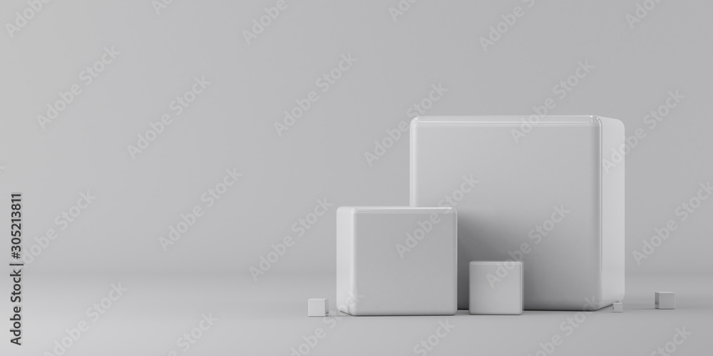 Fototapeta Group of white cubes on a white background. 3d render illustration.