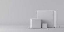 Group Of White Cubes On A Whit...