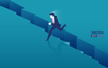 Isometric Businessman Jumping ...