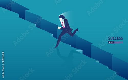 Photo Isometric businessman jumping over the gap between cliffs