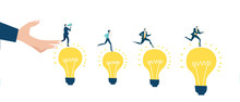 Business People Running On Top Of Light Bulbs. Generating New Ideas And Finding The Dest Solution, Controlling And Advising On Developing And Working Concept.